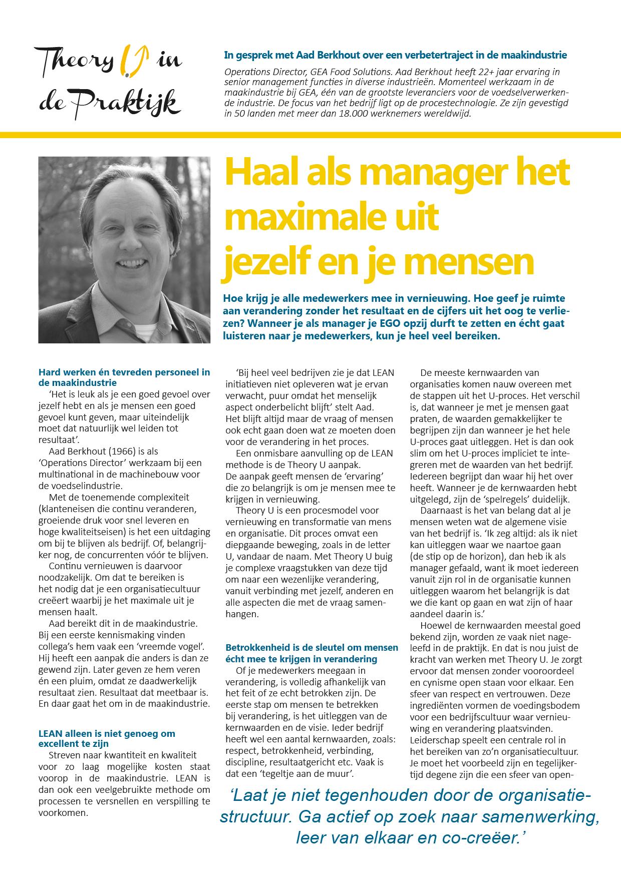 Theory U in de Maakindustrie - Interview met Aad Berkhout